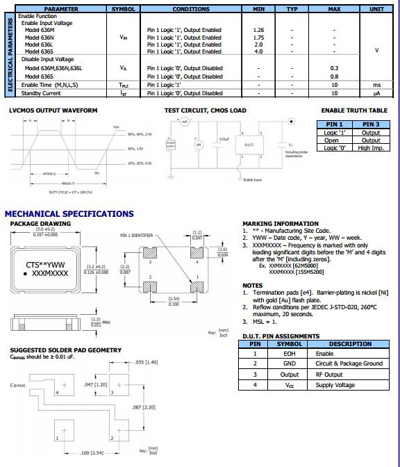 model636晶振,有源晶振